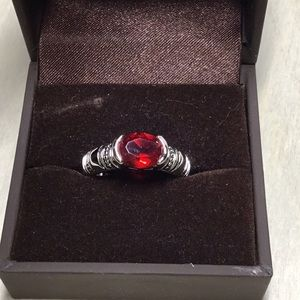 Lia Sophia Ruby colored stone RING, size 8